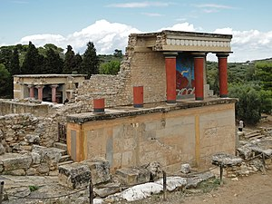 Knossos - Restored North Entrance with charging bull fresco
