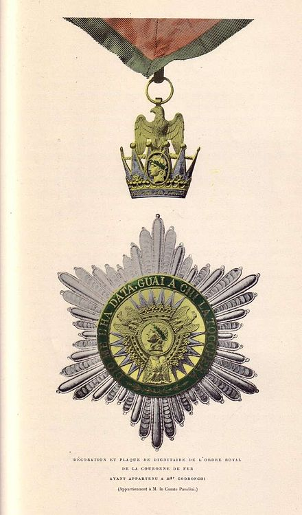 Neck badge and breast star Koechlin - Ordre de la Couronne de Fer (Codronchi).jpg