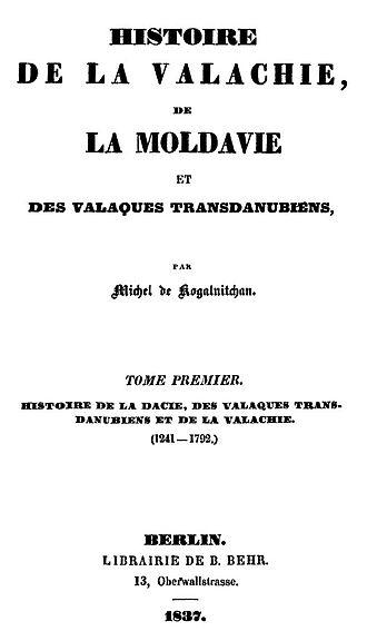 Mihail Kogălniceanu - Front page of Histoire de la Valachie, de la Moldavie et des Valaques transdanubiens, signed Michel de Kogalnitchan (1837)