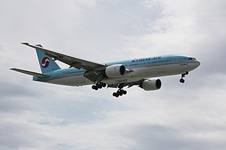 Hanjin - A Korean Air Boeing 777 landing at Vancouver International Airport