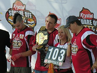 Krystal Square Off - Joey Chestnut holds the world record for eating 103 Krystal burgers in 8 minutes at the 2007 Krystal Square Off.