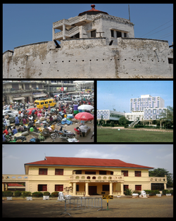 Tap: Fort o Kumasi, Middle left: Kejetia Market, Middle richt: Kwame Nkrumah Science an Technology Varsity, Bottom: Manhyia Palace