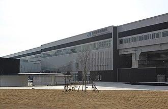 Shin-Kurobe Station - The adjacent Kurobe-Unazukionsen Station on the Hokuriku Shinkansen, March 2015
