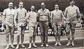 L'équipe de France, championne olympique à l'épée en 1932 (G. à D. Buchard, Schmetz, Piot, Cattiau, Joudant et Tainturier).jpg