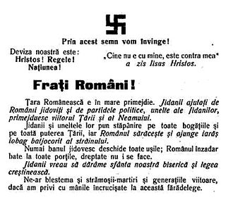 """Elena Bacaloglu - 1928 manifesto of the National-Christian Defense League, published under the swastika logo. It proclaims: """"Romanian brethren! The Land of the Romanians faces a great peril. The kikes, with assistance from Judaized Romanians and the political parties, as tools of the kikes, are gambling with the future of the Country and Folk."""""""