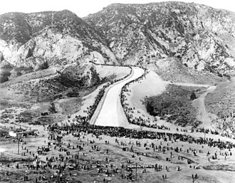 Crowds gather to see the first water reaching the valley via the new aqueduct. LA Aqueduct Opening2.jpg