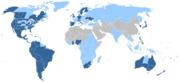 ██ Países e territórios com pelo menos um templo SUD em 2007 ██ Países e territórios sem Templos SUD, mas com congregações organizadas e missionários em 2007 ██ Países e territórios sem presença oficial da Igreja em 2007