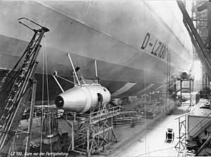 LZ 130 Graf Zeppelin II - LZ 130 under construction with tractor-type engine cars installed