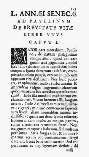De Brevitate Vitae (Seneca) - From the 1643 edition, published by Francesco Baba