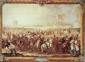 Yirmisekiz Mehmed Çelebi - Image: La sortie de l Ambassadeur Turc du Jardin des Tuileries Gobelins 1734 1737