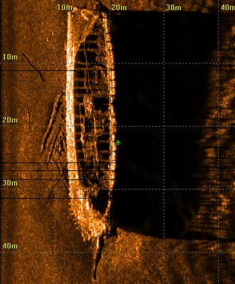 "Side-scan sonar -  Side-scan sonar image of shipwreck ""Aid"" in Estonia"