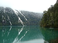 Picture showing Lago Frías in Río Negro Province during winter