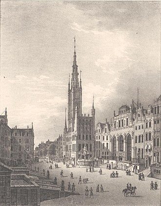 Neptune's Fountain, Gdańsk - The Neptune's Fountain and its surroundings in 1838.