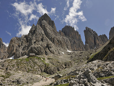 "Saslonch mountain range and ""Rifugio Vicenza"" in the Dolomites"
