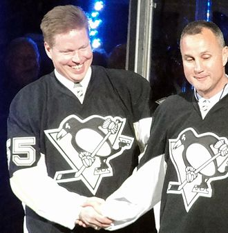 Larry Murphy (ice hockey) - Murphy (left) with Paul Coffey at a pregame ceremony in Pittsburgh, April 2010