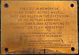 Frank Hann - Memorial plaque in honour of Senior Constable Alfred Wavell