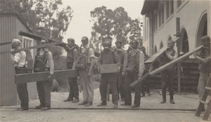 Lawson Adit - Berkeley School of Mining students at the entrance to Lawson Adit in 1918 during a mine rescue drill.  One of the men is carrying a box from the Hercules Powder Company.