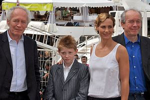The Kid with a Bike - Jean-Pierre Dardenne, Thomas Doret, Cécile de France and Luc Dardenne at the Cannes Film Festival for the premiere of the film