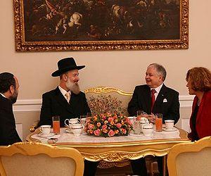 Yona Metzger - Metzger with Polish president professor Lech Kaczynski