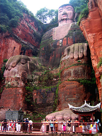 Statue - Leshan Giant Buddha, c. 803, a stone statue carved out of a mountain face in Leshan, China