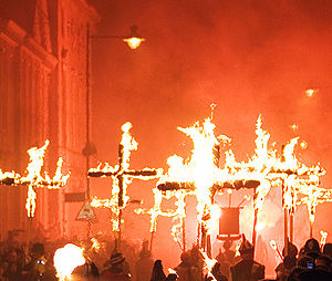 Lewes Bonfire - Procession of the martyrs' crosses, as part of Lewes' Bonfire Night celebrations