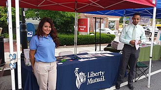 Liberty Mutual - A Liberty Mutual booth at a street fair in Andover, Massachusetts.