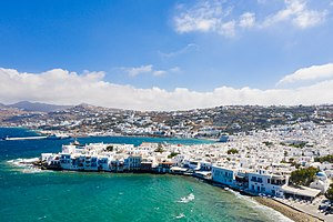 Little Venice with a view of the ferry terminal in Mykonos, Greece - 50661522178.jpg