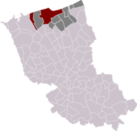 Location of Dunkirk in the arrondissement of Dunkirk.
