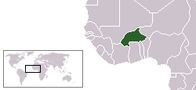 A map showing the location of Burkina Faso