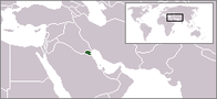 A map showing the location of Kuwait