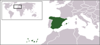 A map showing the location of Spain