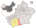 Location of Minfeng within Xinjiang (China).png