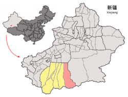 Minfeng County (red) in Hotan Prefecture (yellow), Xinjiang and the PRC