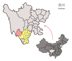 Location of Muli County (red) within Liangshan Prefecture (yellow) and Sichuan