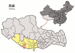 Location of Nyalam County within Tibet