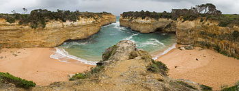 A panorama of Loch Ard Gorge and the beach