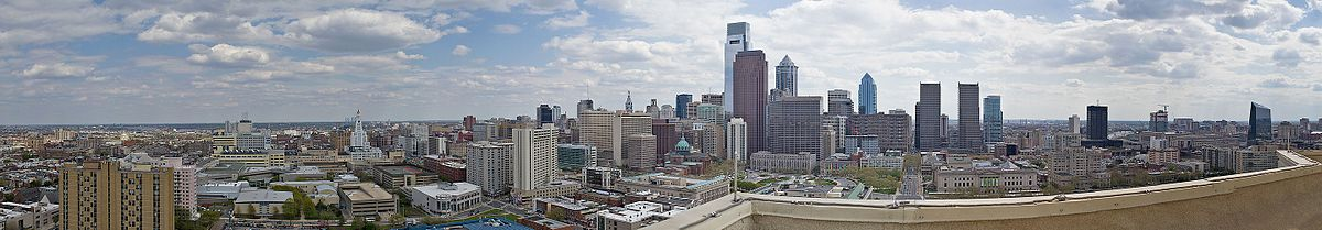 A panorama of Logan Square taken from the roof of City View Condominium (2001 Hamilton St.). Spring Garden runs along the left side; at center is the Cathedral Basilica, Logan Circle, and the Franklin Institute. 30th Street Station, to the far right across the river, is not part of Logan Square.