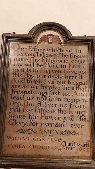 St Just in Roseland - Image: Lord's Prayer (1693) St Just in Roseland