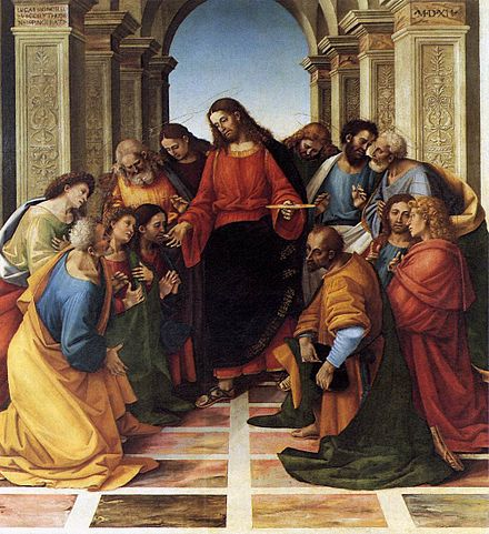 The Communion of the Apostles, by Luca Signorelli, 1512. Luca signorelli, comunione con gli apostoli, cortona.jpg