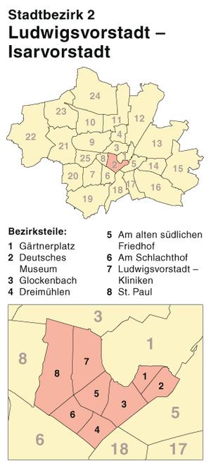 Ludwigsvorstadt-Isarvorstadt - Ludwigsvorstadt-Isarvorstadt, location within Munich