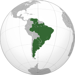 Dark green: Full members (Argentina, Brazil, Uruguay, Venezuela).Lighter green: Suspended members (Paraguay).