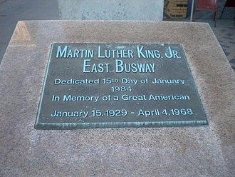Martin Luther King Jr. East Busway - Plaque at Penn Station dedicating the Busway