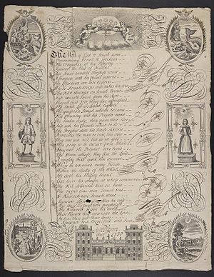 "Francis Quarles - A writing sheet produced by student Anne Passmore, showing the biblical story of Jonah depicted in images and poetry; the first four lines are from Francis Quarles' Argument that begins his poem ""A Feast for Wormes."""