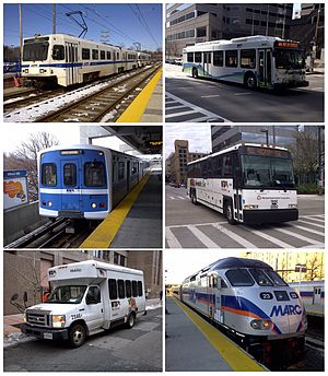 Maryland Transit Administration - From left, clockwise: Baltimore Light Rail, Express bus, Commuter bus, MARC, Paratransit, and Baltimore Metro Subway