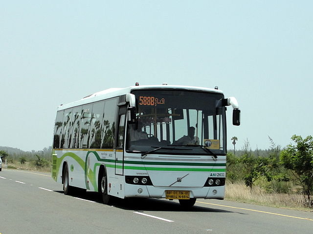 An MTC Volvo on Route 588B from Broadway to Mamallapuram.