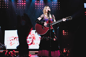 "Rebel Heart - Madonna performing the album's title track, ""Rebel Heart"", during the Rebel Heart Tour."