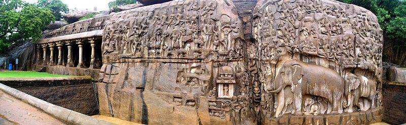 Large rock reliefs with elephants