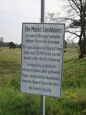Mainz Sand Dunes - Explanation sign
