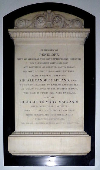 Sir Alexander Maitland, 1st Baronet - Maitland memorial plaque St Andrew's church, Totteridge