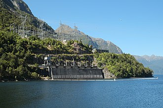 Manapouri Power Station - Switchyard and water intake of Manapouri Power Station, January 2016
